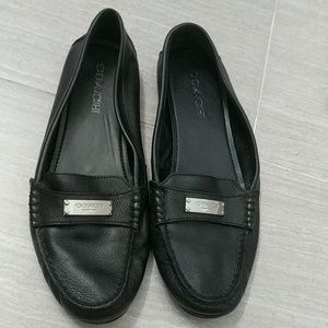 Coach Fredrica Black Leather Slip-on Loafers